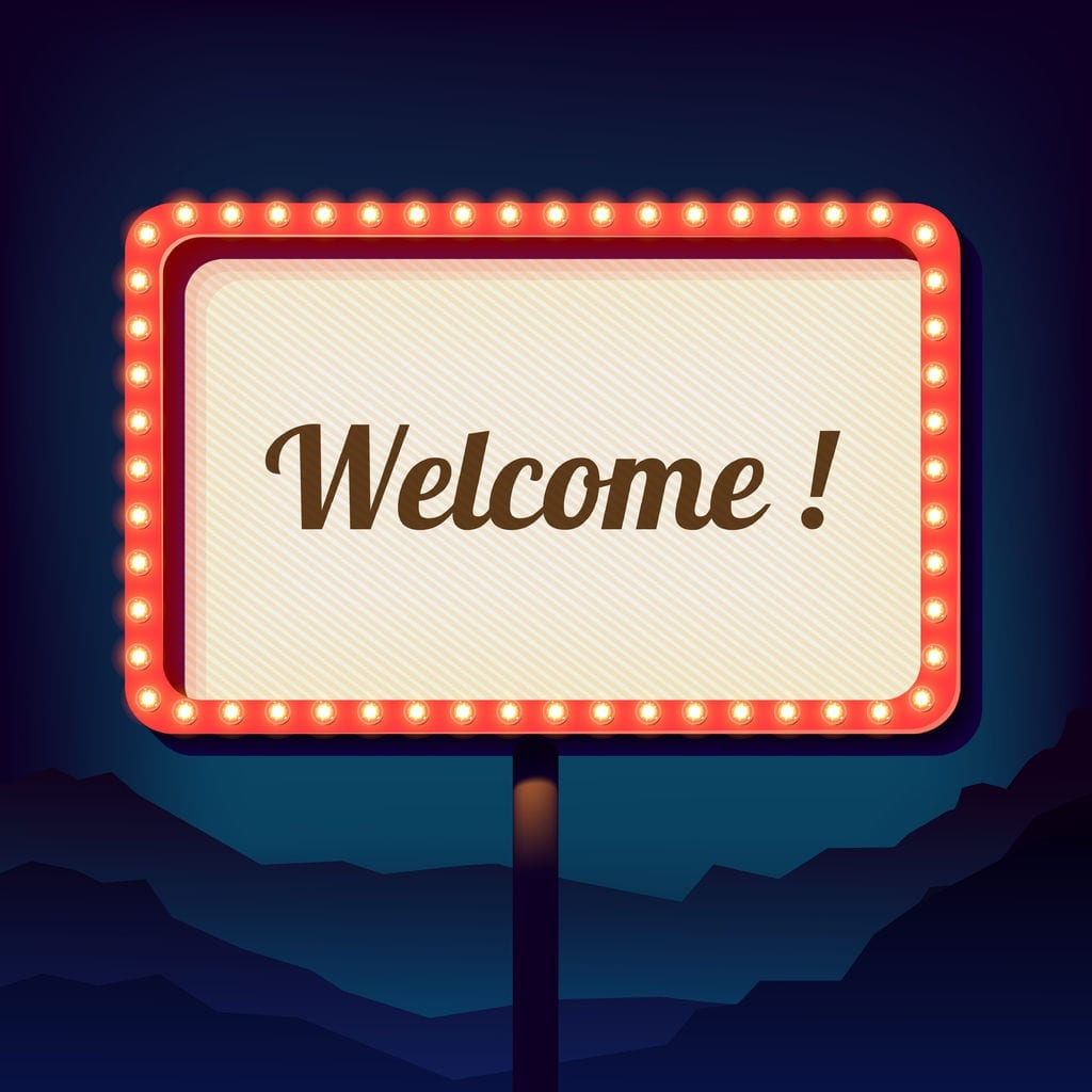 53227762 - vintage shield with an inscription welcome. promotional 3d retro sign over the city. night sign on a background of mountains. is welcomed. neon lights on a street sign. vector